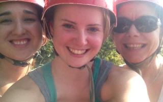 Zip-lining with friends