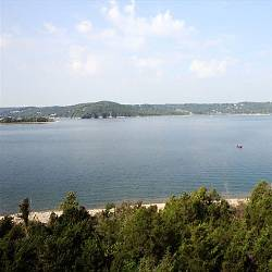 The view from outside one of our lakefront vacation rentals in Branson, MO.