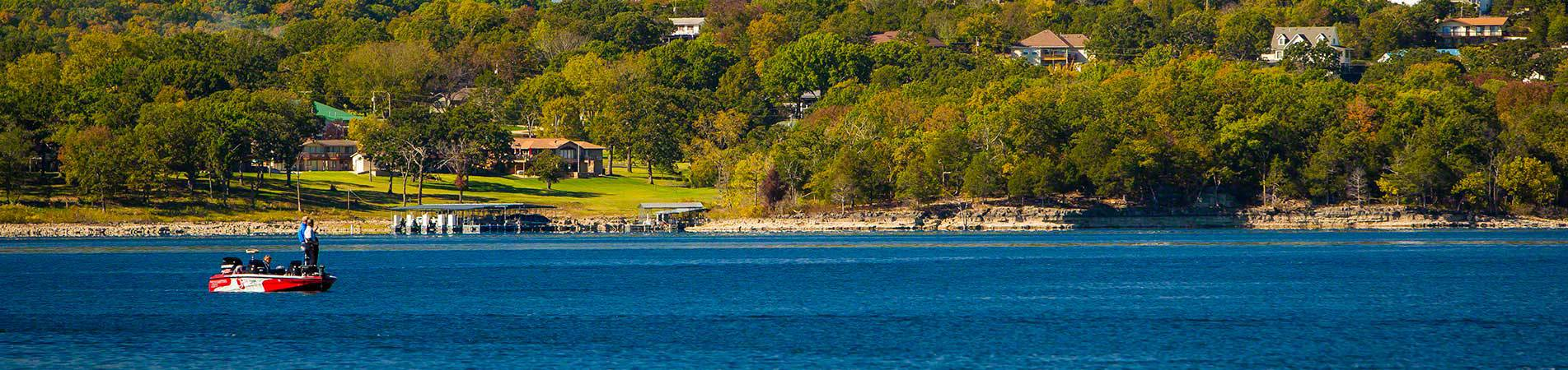 A distant view of our vacation rentals in Branson, MO shot from across the lake.