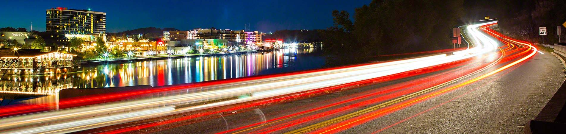 A road that runs along several of our vacation rentals in Branson.