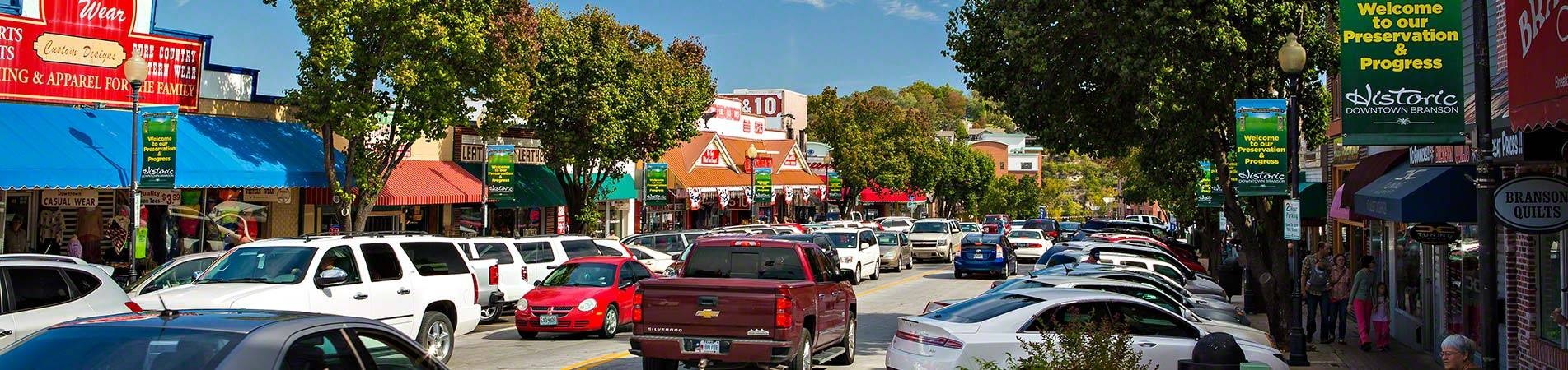 The downtown area just a few blocks from our vacation rentals in Branson.
